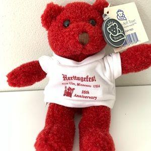 NWT Heritagefest New Ulm Red Teddy Bear Plush